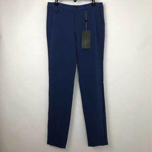 Rag & Bone Eloise Pants Blue Black Leather Trim 10